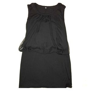 Dresses & Skirts - Black Dress with Sheer Overlay
